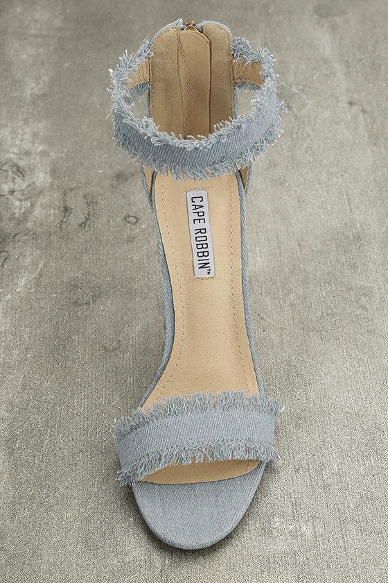 Freya Blue Denim Ankle Strap Heels 6