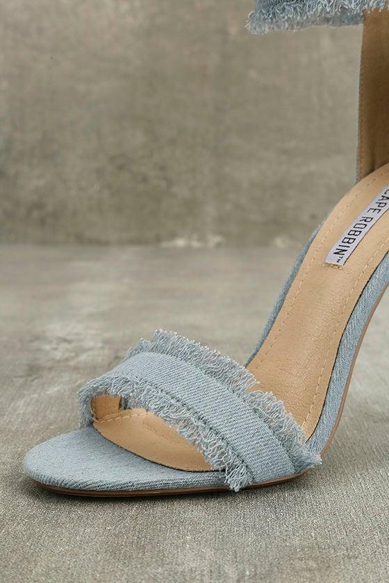 Freya Blue Denim Ankle Strap Heels 7