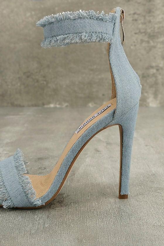Freya Blue Denim Ankle Strap Heels 8