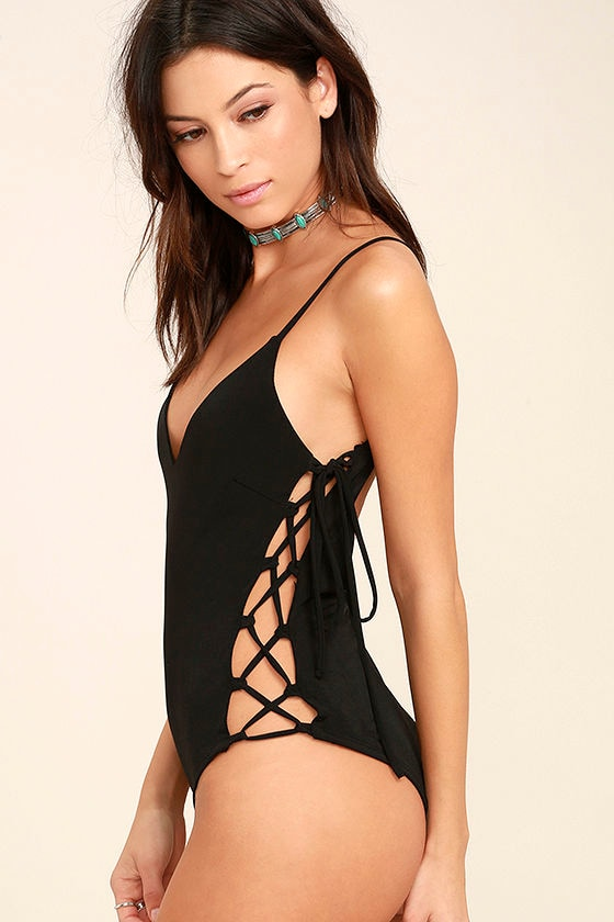 Exception to the Rule Black Lace-Up Bodysuit 1