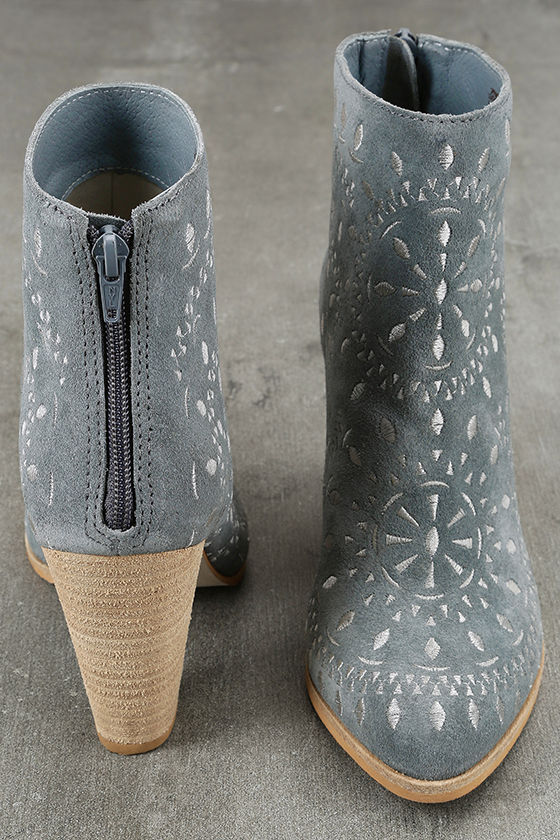 Matisse Springfield Dusty Blue Embroidered Suede Leather Booties 3