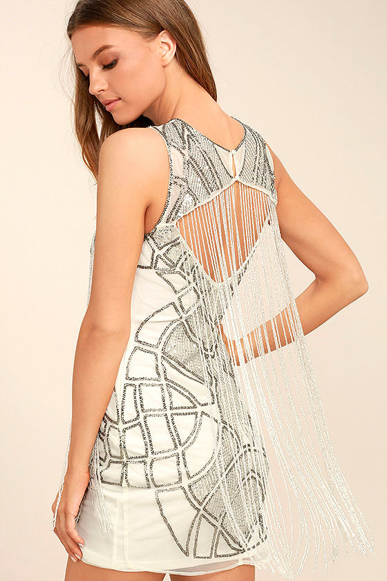 New Friends Colony Showstopper White Beaded Sheath Dress