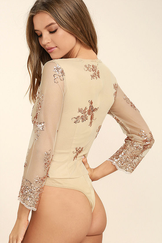 Strawberry Champagne Beige and Rose Gold Sequin Bodysuit 4