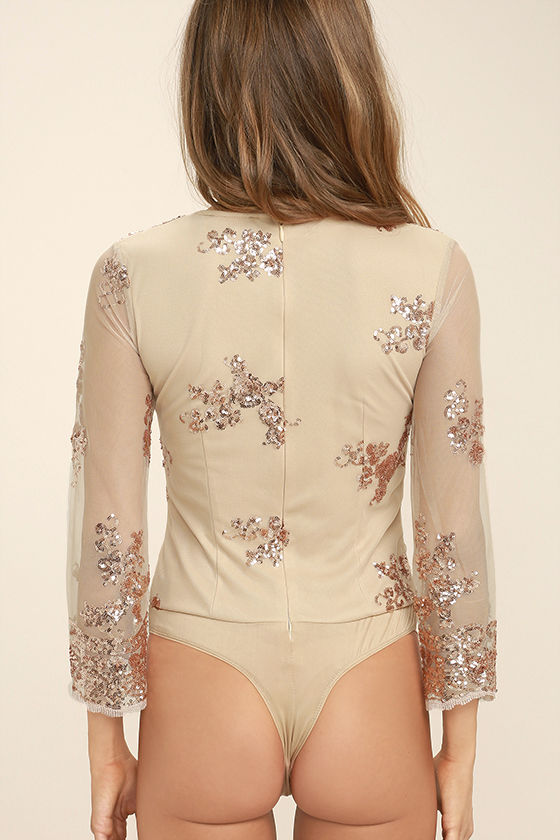 Strawberry Champagne Beige and Rose Gold Sequin Bodysuit 5