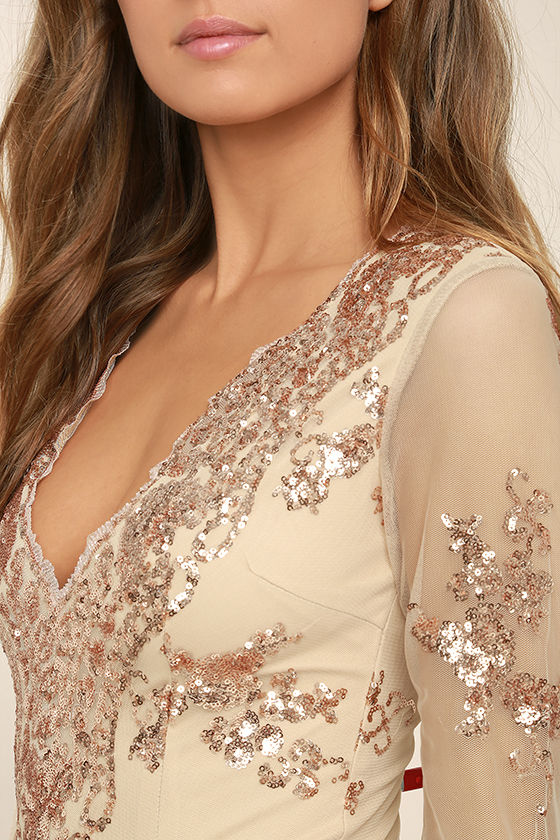 Strawberry Champagne Beige and Rose Gold Sequin Bodysuit 6