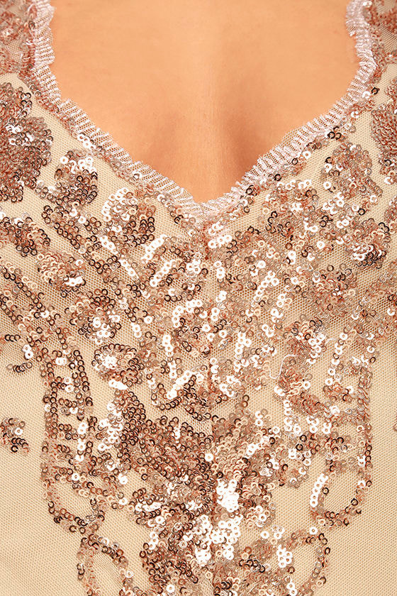 Strawberry Champagne Beige and Rose Gold Sequin Bodysuit 7