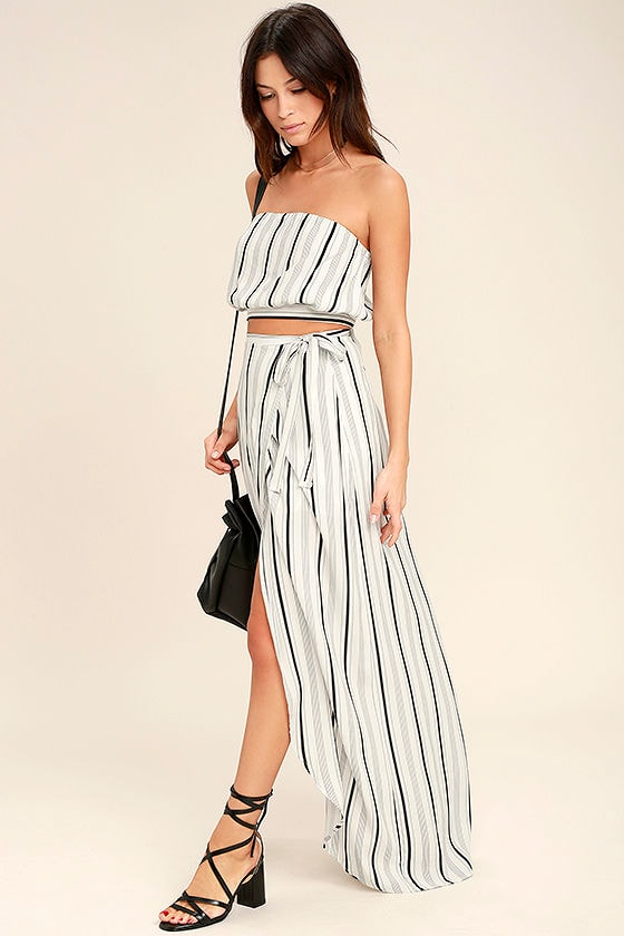 Vacay Bae Black and White Striped Wrap Maxi Skirt 1