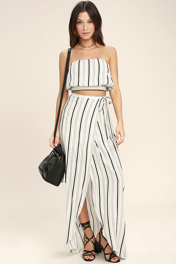 573294f8ce7f9c Chic Black and White Skirt - Striped Maxi Skirt - Striped Wrap Skirt -  $49.00