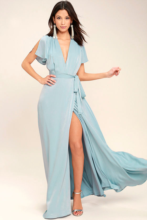 Lovely Light Blue Dress Maxi Dress Wrap Dress 69 00