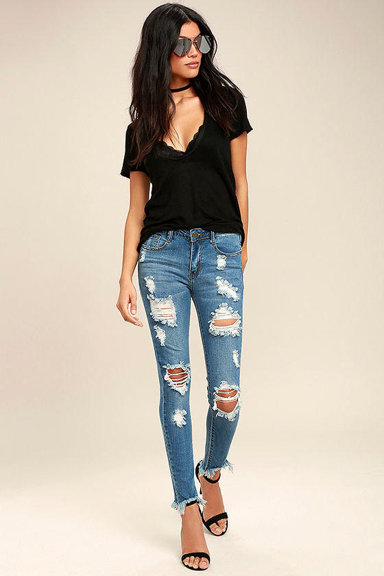 On the Air Medium Wash Destroyed Skinny Jeans 1