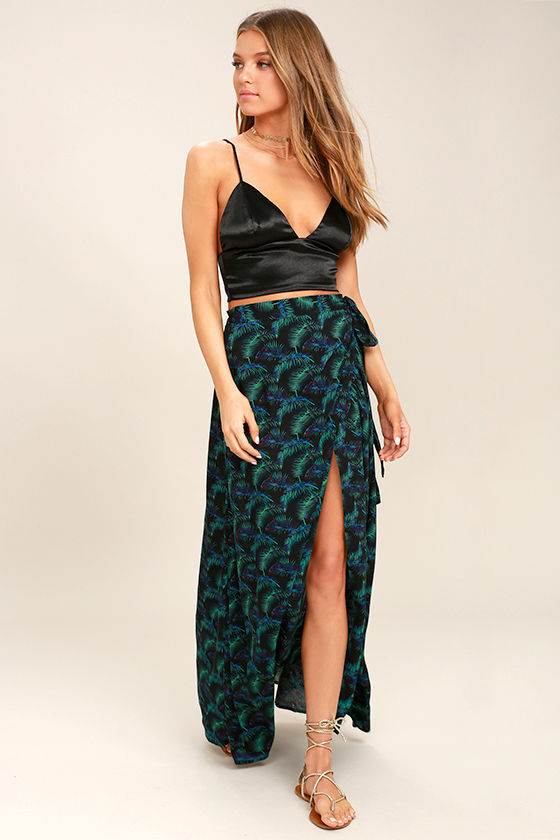 Lucy Love Grand Wailea Black Print Wrap Maxi Skirt 1