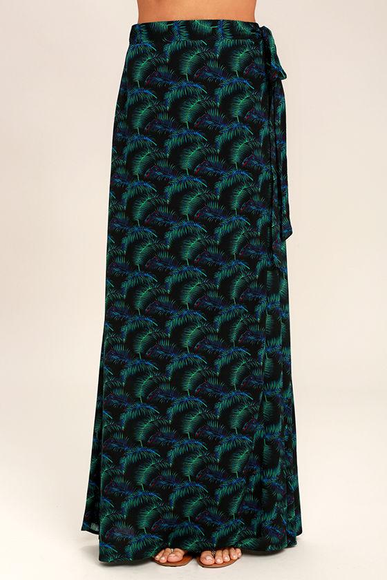 Lucy Love Grand Wailea Black Print Wrap Maxi Skirt 2