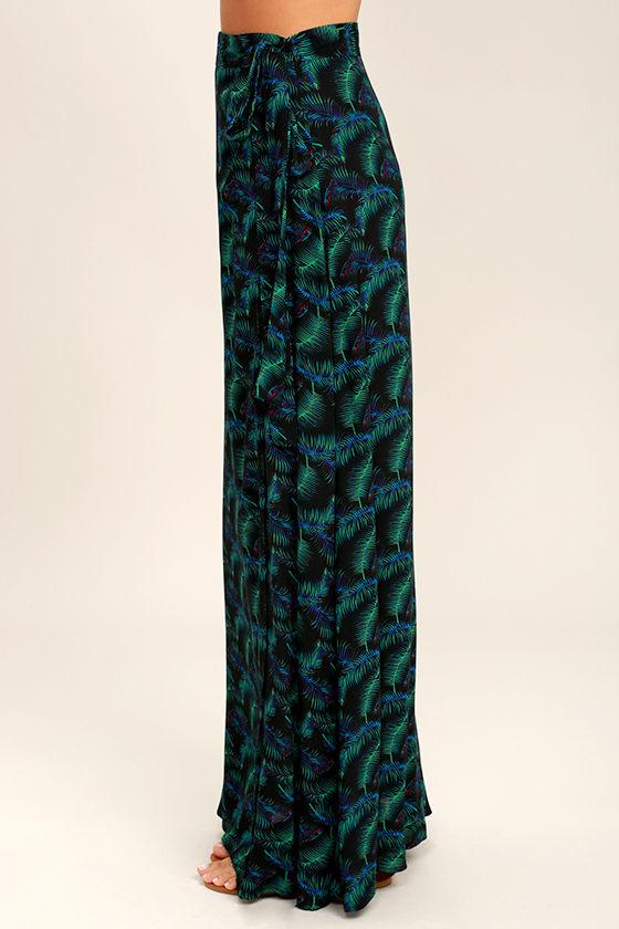 Lucy Love Grand Wailea Black Print Wrap Maxi Skirt 3