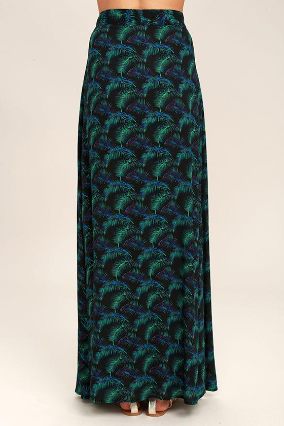 Lucy Love Grand Wailea Black Print Wrap Maxi Skirt 4