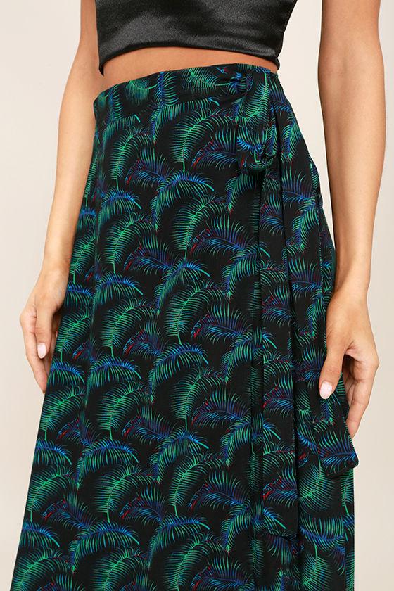 Lucy Love Grand Wailea Black Print Wrap Maxi Skirt 5