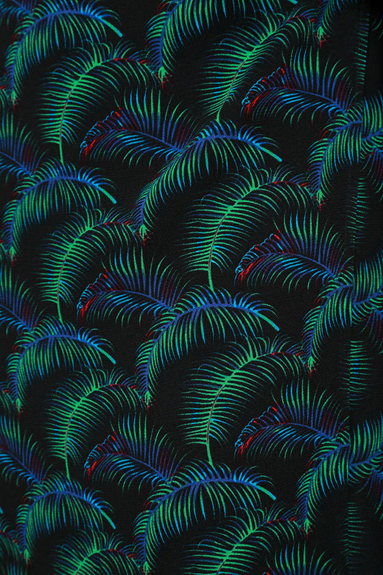 Lucy Love Grand Wailea Black Print Wrap Maxi Skirt 6