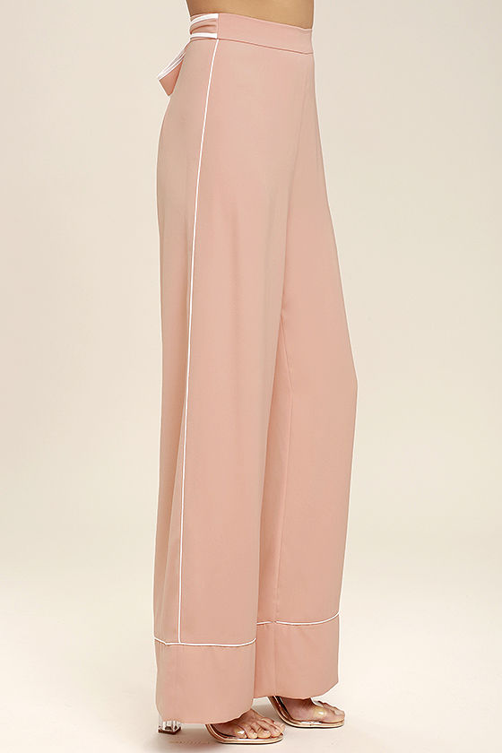 Welcoming Committee Blush Pink Wide-Leg Pants 3