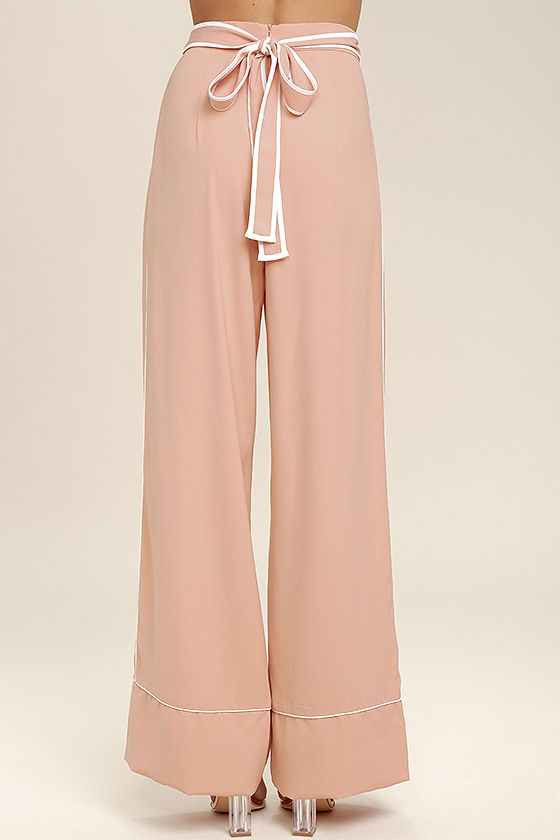 Welcoming Committee Blush Pink Wide-Leg Pants 4