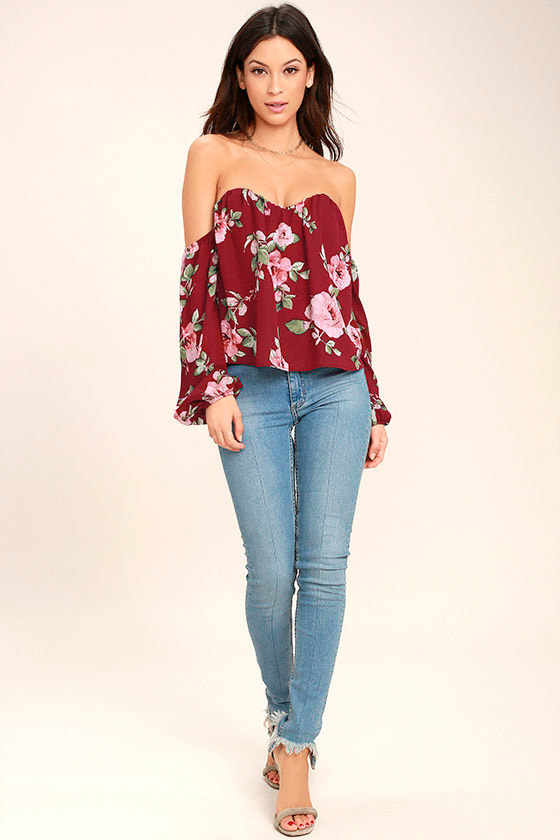 In Your Arms Wine Red Floral Print Off-the-Shoulder Top 2