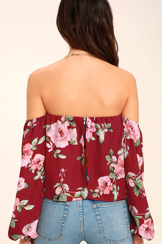 In Your Arms Wine Red Floral Print Off-the-Shoulder Top 4