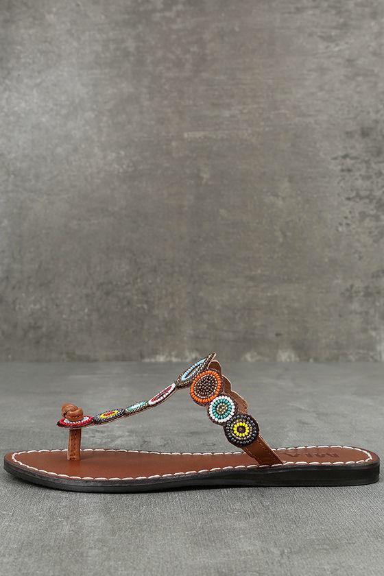 Mia Apache Brown Bright Multi Beaded Thong Sandals 2