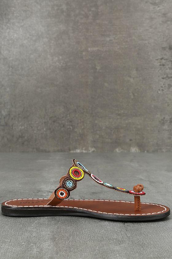 Mia Apache Brown Bright Multi Beaded Thong Sandals 4