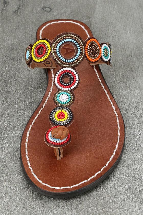 Mia Apache Brown Bright Multi Beaded Thong Sandals 5