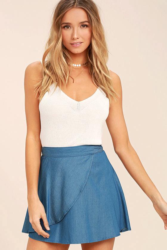 Hit the Mark Blue Chambray Wrap Mini Skirt 1