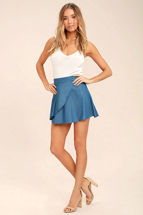 Hit the Mark Blue Chambray Wrap Mini Skirt 3