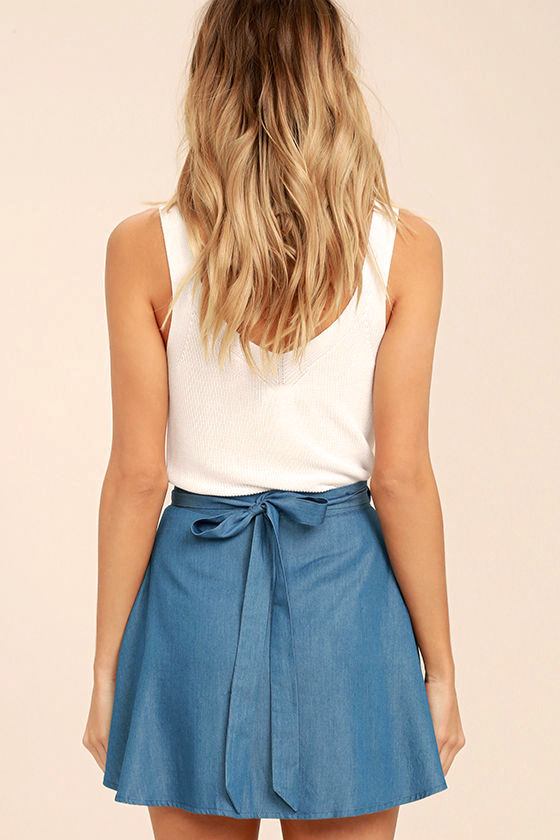 Hit the Mark Blue Chambray Wrap Mini Skirt 4