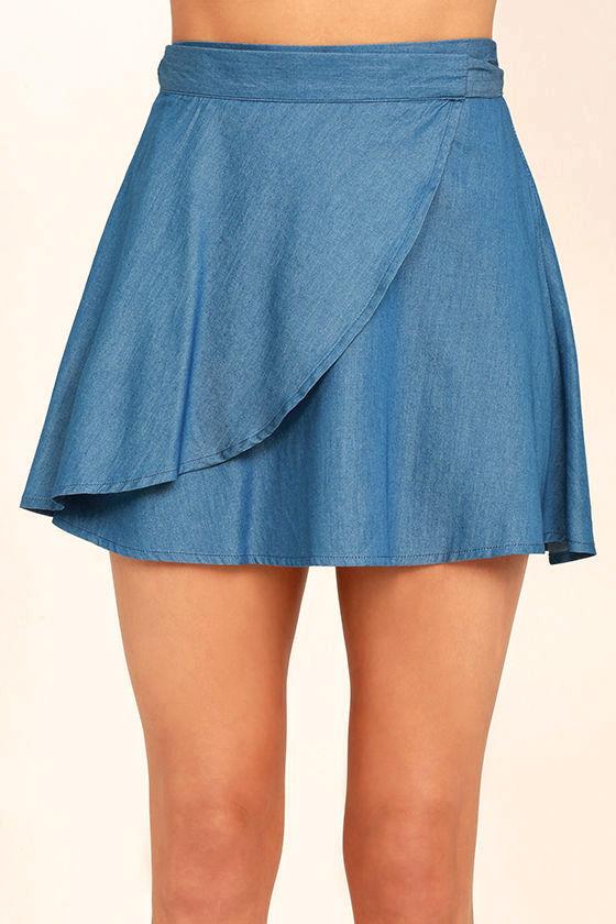 Hit the Mark Blue Chambray Wrap Mini Skirt 5