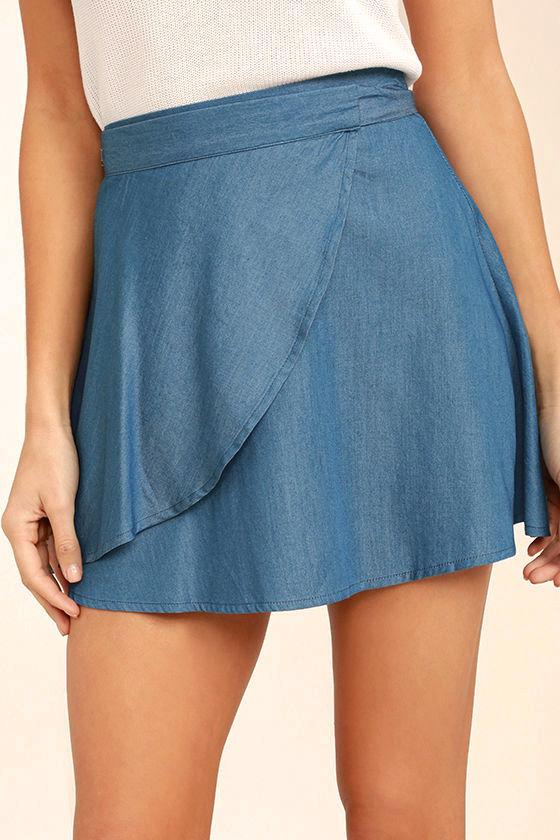 Hit the Mark Blue Chambray Wrap Mini Skirt 6