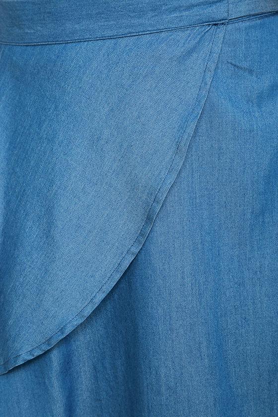 Hit the Mark Blue Chambray Wrap Mini Skirt 7