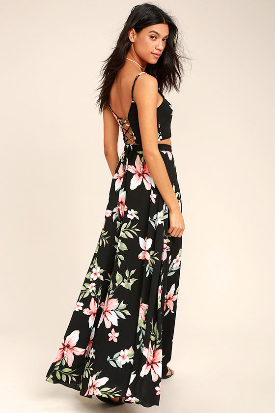 Barefoot at the Beach Black Floral Print Two-Piece Maxi Dress 2