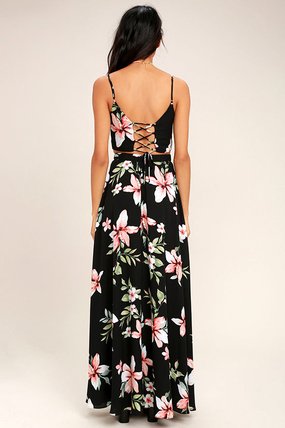 Barefoot at the Beach Black Floral Print Two-Piece Maxi Dress 3