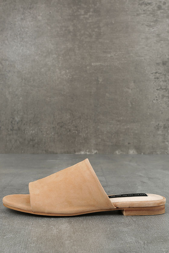9a7ce7d4aae Steven by Steve Madden Calahan - Sand Suede Leather Mules - Peep-Toe ...