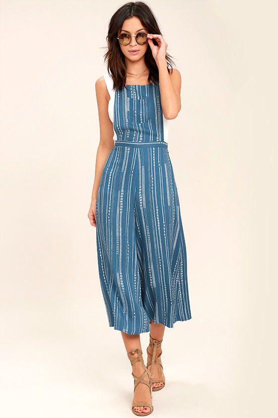 Mink Pink Tangier Blue Print Cropped Overalls 1