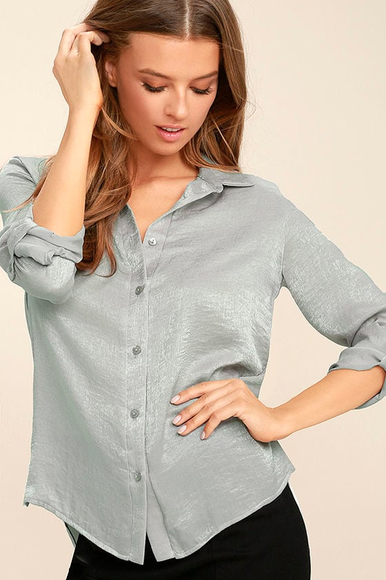 Boss Lady Grey Satin Button-Up Top 1