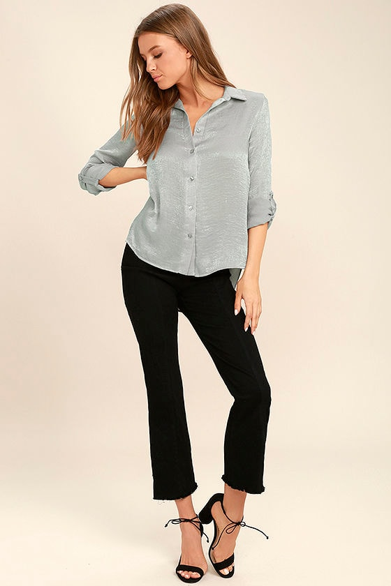 Boss Lady Grey Satin Button-Up Top 2