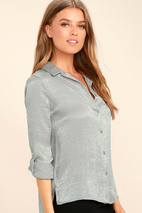 Boss Lady Grey Satin Button-Up Top 3
