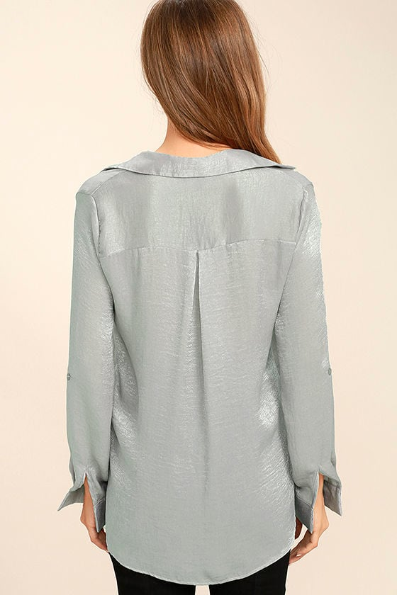 Boss Lady Grey Satin Button-Up Top 4