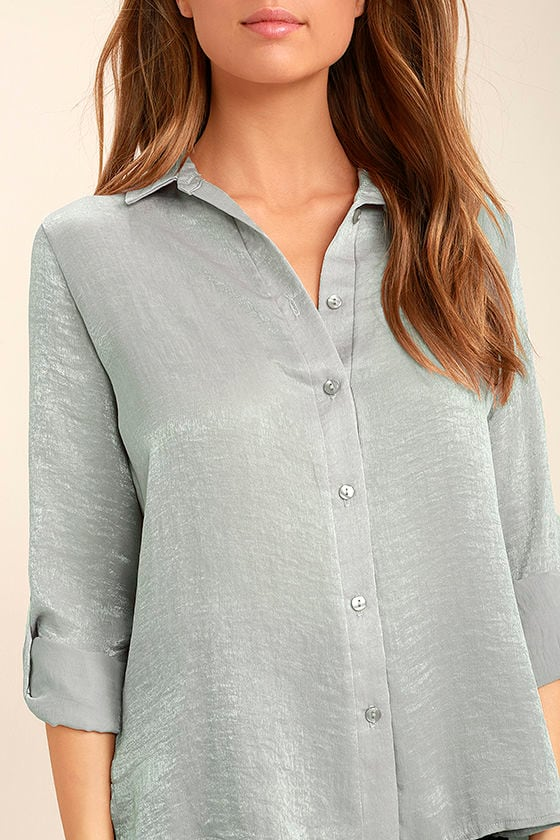 Boss Lady Grey Satin Button-Up Top 5