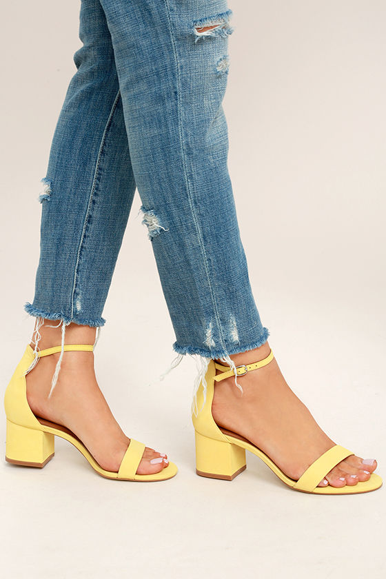 Steve Madden Irenee Yellow Nubuck Leather Ankle Strap Heels 1