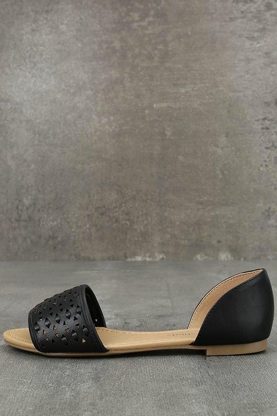 Voleta Black Cutout Peep-Toe Flats 1