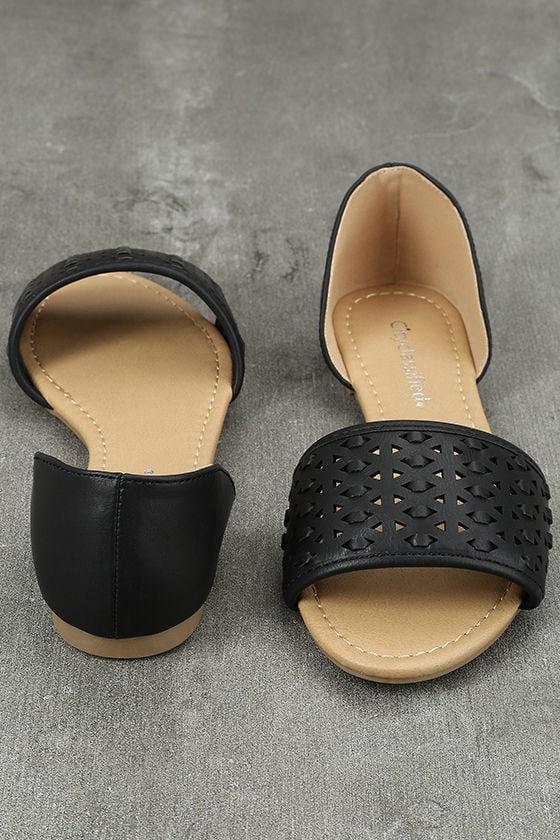 Voleta Black Cutout Peep-Toe Flats 3