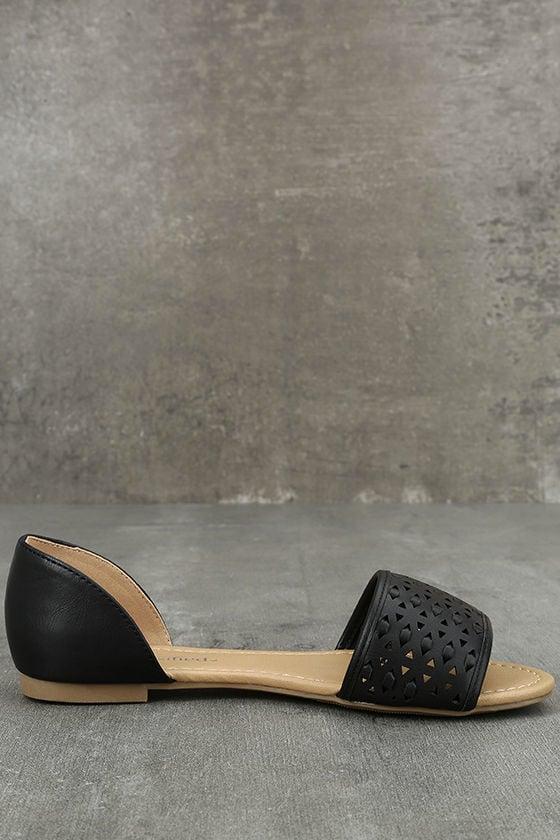 Voleta Black Cutout Peep-Toe Flats 4