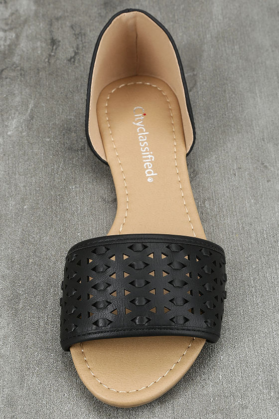 Voleta Black Cutout Peep-Toe Flats 5