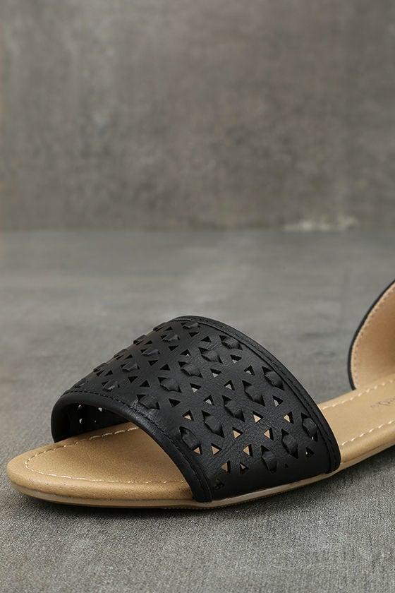 Voleta Black Cutout Peep-Toe Flats 6