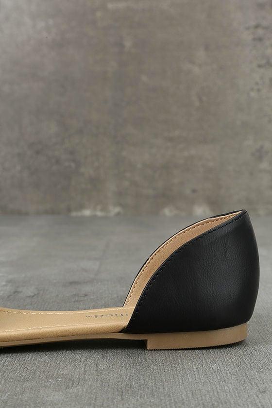 Voleta Black Cutout Peep-Toe Flats 7