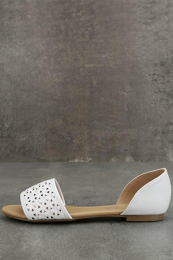 Voleta White Cutout Peep-Toe Flats 1